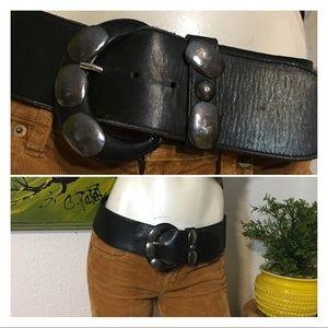 Vintage Black Leather Waist Belt Punk Grunge Boho